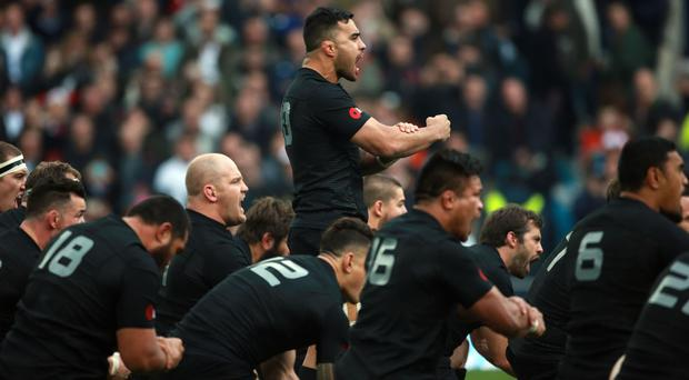 New Zealand perform the Haka ahead of their most recent clash with England in 2014