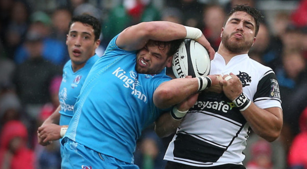 Ulster's Clive Ross in action with Barbarians' Facundo Isa on Thursday night