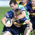 Crunch time: Banbridge's Tom Caesar with Donal Droney