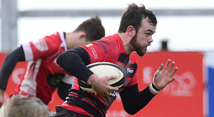 Try in sight: Armagh's Chris Colvin sprints to the line