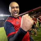 Job done: Simon Zebo celebrates Munster's victory