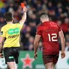 Seeing red: Munster's Sam Arnold is sent off