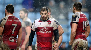 Bad day: Darren Cave looks dejected as Ulster's season unravels at the Ricoh Arena