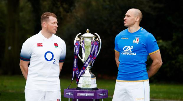 Sergio Parisse, pictured right, believes all the pressure will be on Dylan Hartley's England in Rome