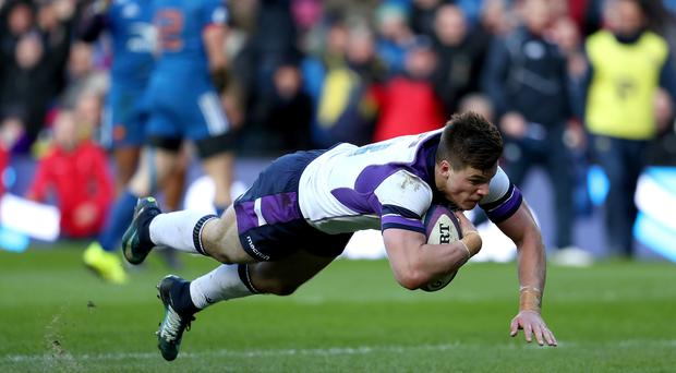 Huw Jones scored Scotland's second try of the game