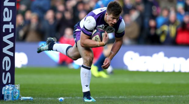 Huw Jones scored one of Scotland's two tries