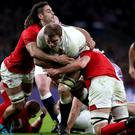Joe Launchbury, centre, credits Steve Borthwick with the improvement in his line-out
