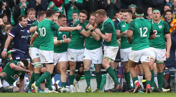 Ireland's Sean Cronin, centre, celebrates