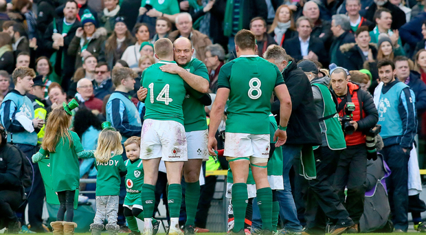 Champions: Rory Best celebrates with his Ireland team-mates after winning the Six Nations