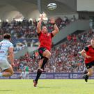 Wilting feeling: Ian Keatley of Munster catches the ball against Racing 92, but Munster were well beaten on the day