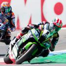Chasing glory: Michael van der Mark (right) leads Jonathan Rea