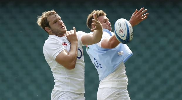 England's Joe Launchbury and Nick Isiekwe during a training session at Twickenham Stadium, London. PRESS ASSOCIATION Photo. Picture date: Friday June 2, 2017. See PA story RUGBYU England. Photo credit should read: Paul Harding/PA Wire. RESTRICTIONS: Editorial use only, No commercial use without prior permission.