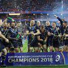 Leinster's celebrate winning the European Champions Cup Final at the San Mames Stadium, Bilbao.