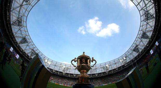The Webb Ellis trophy during the World Cup match at the Olympic Stadium, London. PRESS ASSOCIATION Photo. Picture date: Sunday October 4, 2015. See PA story RUGBYU Ireland. Photo credit should read: David Davies/PA Wire. RESTRICTIONS: Editorial use only. Strictly no commercial use or association without RWCL permission. Still image use only. Use implies acceptance of Section 6 of RWC 2015 TandCs at: http://bit.ly/1MPElTL Call +44 (0)1158 447447 for further info.