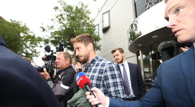 Danny Cipriani leaves Jersey Magistrates' Court after being fined £2,000 (Yui Mok, PA).