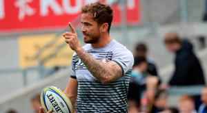 In the spotlight: Danny Cipriani during Kingspan warm-up on Saturday, though he didn't play in Chris Henry's testimonial