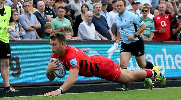 Alex Lewington scores his first try on his Saracens debut (Richard Sellers/PA)