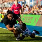 Saracens' Sean Maitland scores their seventh try during the Gallagher Premiership match at Allianz Park, London.