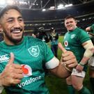 Ireland's Bundee Aki celebrates after victory over New Zealand (Brian Lawless/PA)