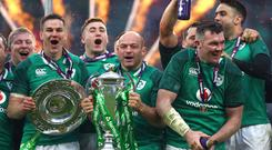 Ireland captain Rory Best leads the 2018 Six Nations celebrations.