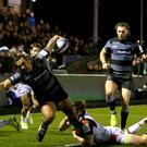 Newcastle Falcons Sinoti Sinoti is tackled by Edinburgh's James Johnstone just short of the try line during the Heineken Champions Cup match at Kingston Park, Newcastle.