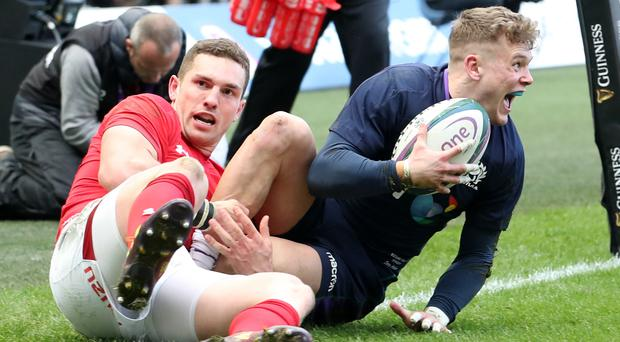 Scotland's Darcy Graham was thrilled with his first international try against Wales on Saturday (Jane Barlow/PA)