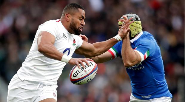 Joe Cokanasiga, left, dominated against Italy but will not play against Scotland (Adam Davy/PA)