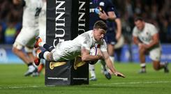 George Ford scores England's final try in a dramatic draw with Scotland (Steven Paston/PA)