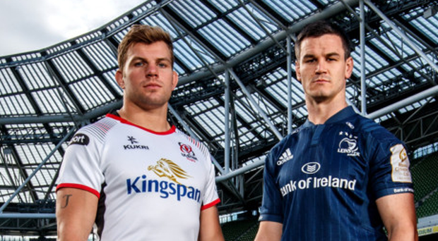 Prize guys: Ulster ace Jordi Murphy and Johnny Sexton of Leinster with the Champions Cup