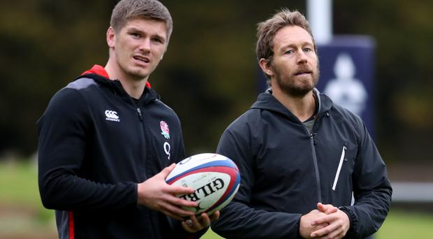 England captain Owen Farrell (left) and kicking coach Jonny Wilkinson during a training session at Pennyhill Park, Bagshot.