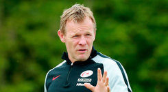 Focused: Mark McCall takes a Saracens training session this week