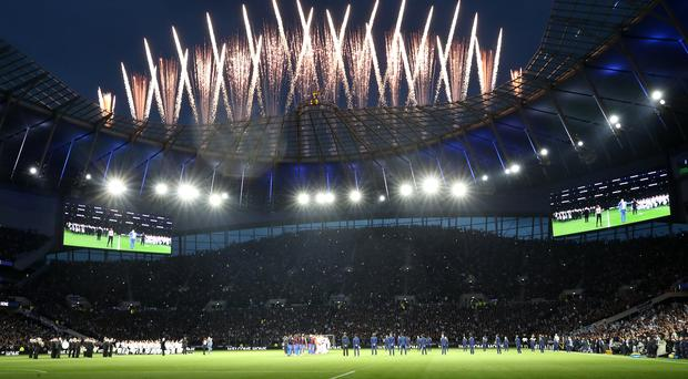 A general view of a firework display before kick off during the Premier League match at The Tottenham Hotspur Stadium, London.