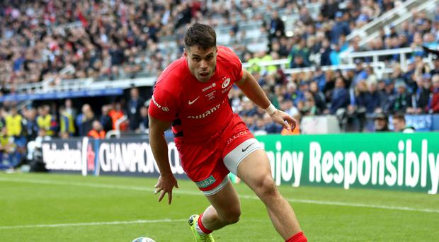 Saracens' Sean Maitland scores his first try during the Champions Cup Final at St James' Park, Newcastle.