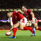 Wales' George North touches down for the only try of the match (David Davies. PA)