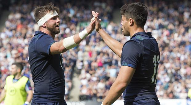 Sean Maitland celebrates after scoring his try with Ryan Wilson (Ian Rutherford, PA)