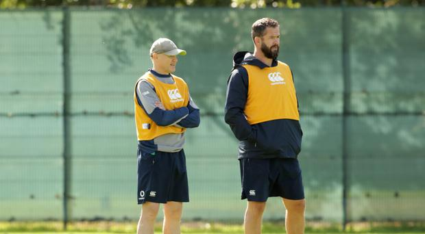 Big plans: Joe Schmidt (left) and defence coach Andy Farrell at Ireland's training session at Carton House yesterday
