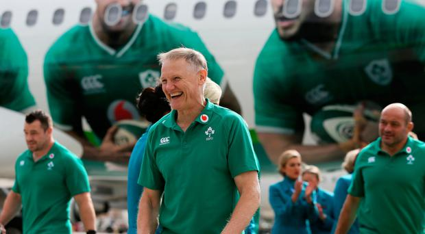 On their way: Ireland head coach Joe Schmidt as the team prepare to depart from Dublin Airport