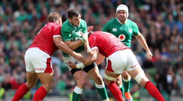 Ireland hope Robbie Henshaw, centre, can still play a part in the World Cup (Brian Lawless/PA)