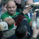 Ireland captain Rory Best celebrates beating Scotland in February (Graham Stuart/PA)