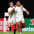Manu Tuilagi celebrates scoring England's second try in their win over Tonga (David Davies/PA).