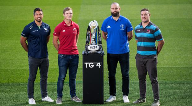 Provincial rivals: Jarrad Butler (Connacht), Tyler Bleyendaal (Munster), Scott Fardy (Leinster) and Rob Herring (Ulster) at the launch of the Guinness PRO14 Championship