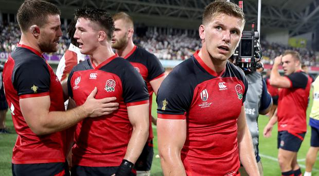 England's Owen Farrell after the final whistle in the 2019 Rugby World Cup match at the Kobe Misaki Stadium, Japan.