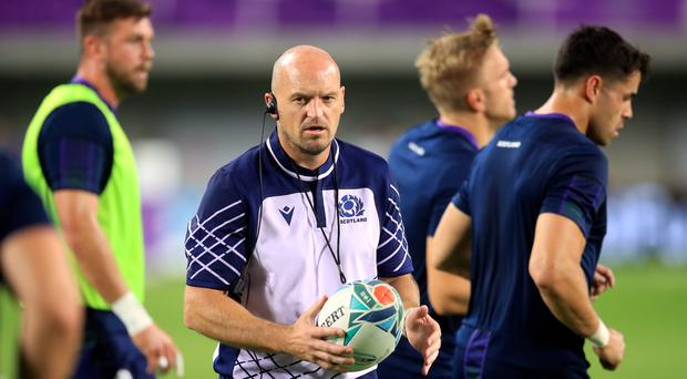 Gregor Townsend, centre, hailed a much-improved Scottish display (Adam Davy/PA)