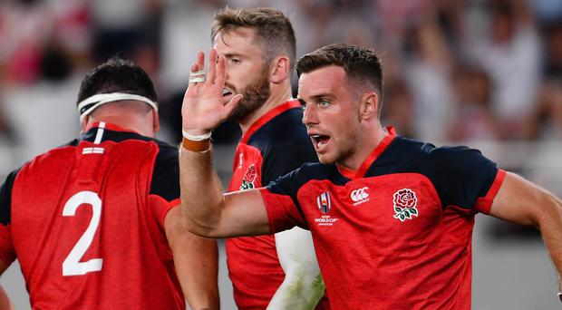 England's George Ford celebrates Elliot Daly's try against Argentina (PA)