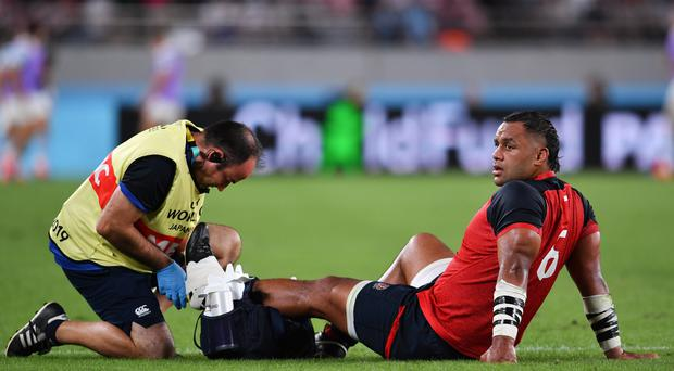 England's Billy Vunipola receiving medical attention (Ashley Western/PA)
