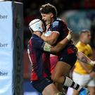 Bristol's Piers O'Connor celebrates scoring his side's fourth try in the Gallagher Premiership victory against Bath at Ashton Gate (Andrew Matthews/PA)