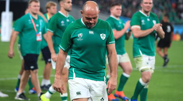 Ireland's Rory Best appears dejected after the defeat (Adam Davy/PA)