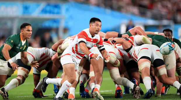 South Africa and Japan in action at Tokyo Stadium (Adam Davey/PA)