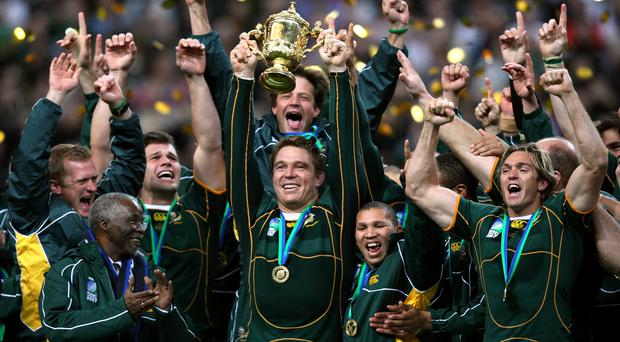 South Africa won the 2007 World Cup final against England, with Springboks captain John Smith lifting the trophy (David Davies/PA)