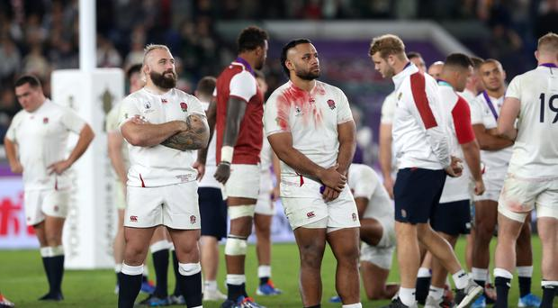 England's Joe Marler, left, alongside Saracens' Billy Vunipola, who was one of eight Sarries involved in the World Cup final (David Davies/PA)